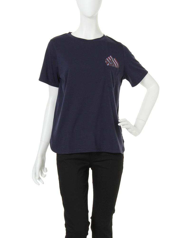 【CASUAL】pocketチーフTシャツ(ネイビー-F)