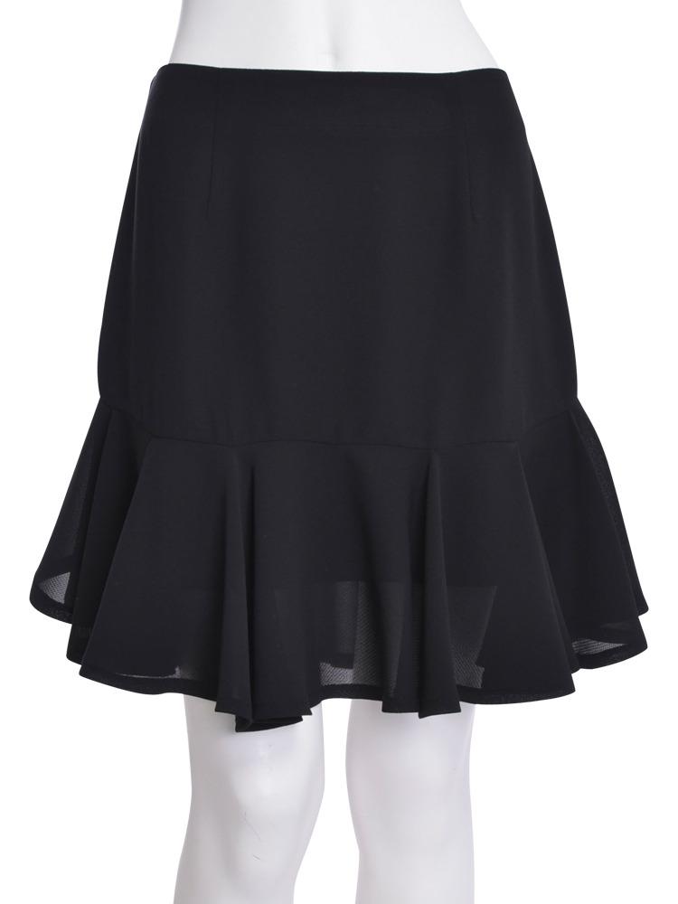 【CHIC】サイドショートフリルスカート(ブラック-S)