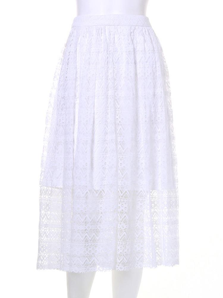 【CASUAL】ジオメトリックレースミドルスカート(ホワイト-S)