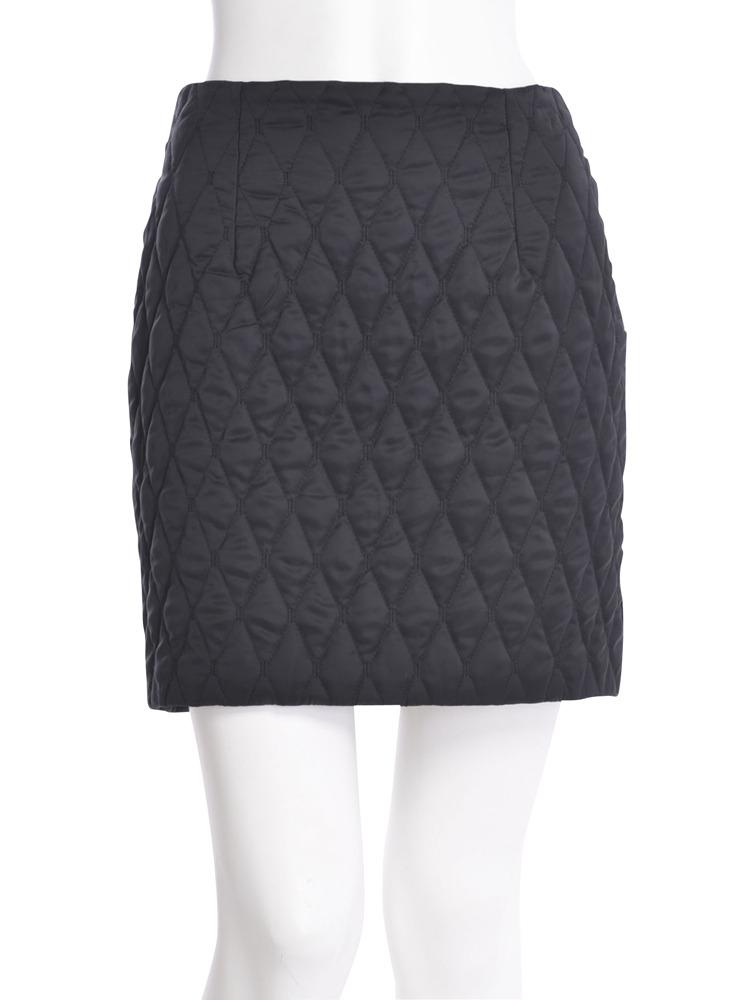 【CASUAL】キルティングタイトスカート(ブラック-S)