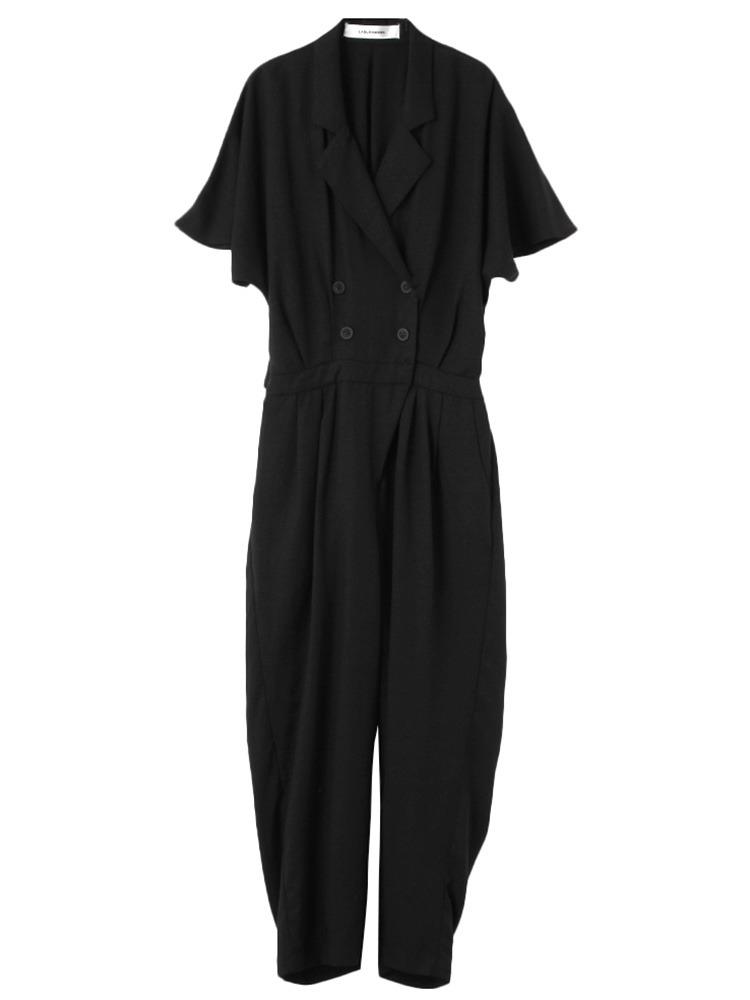 Relaxジャンプスーツ(ブラック-S)