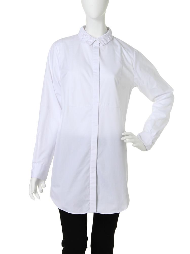 【CHIC】ギャザーcollarロングシャツ(ホワイト-F)