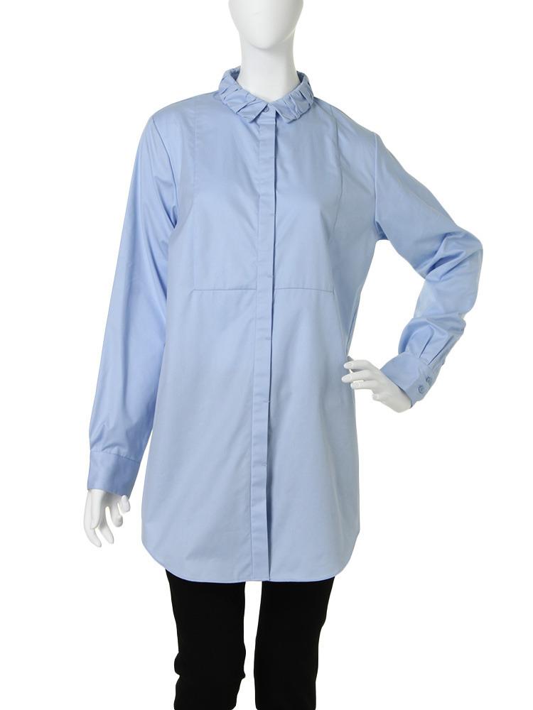 【CHIC】ギャザーcollarロングシャツ(ブルー-F)