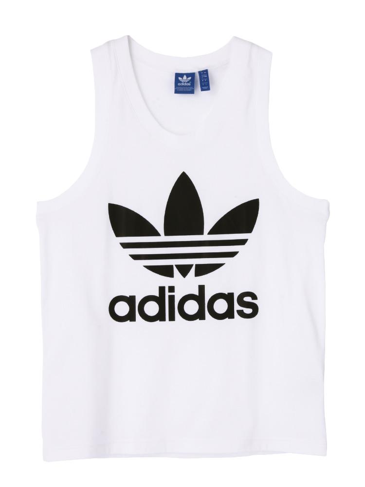 〈adidas〉TREFOIL TANK(ホワイト-XS)