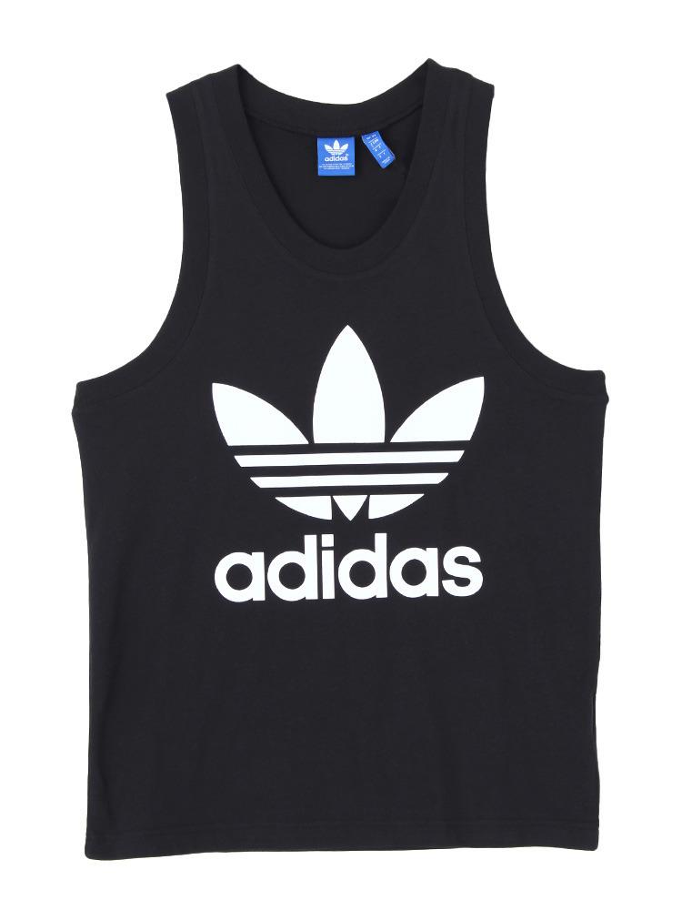〈adidas〉TREFOIL TANK(ブラック-XS)