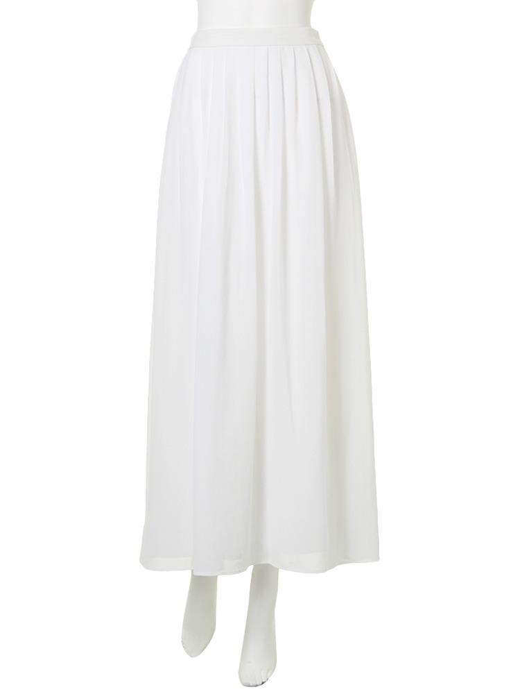 Relaxフレアマキシスカート(ホワイト-S)