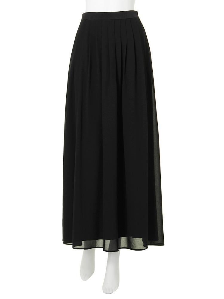 Relaxフレアマキシスカート(ブラック-S)