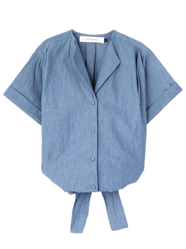 カシュクールギャザーシャンブレーシャツ(ブルー-F)