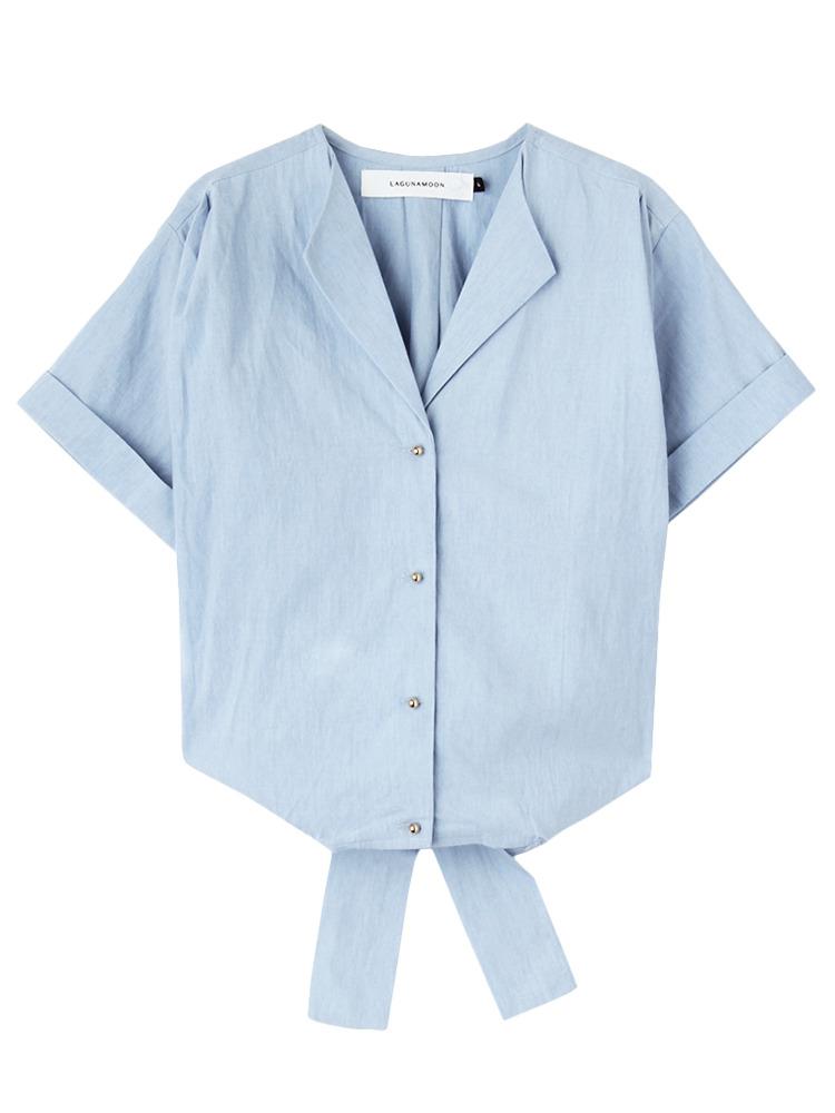 カシュクールギャザーシャンブレーシャツ(アイスブルー-F)
