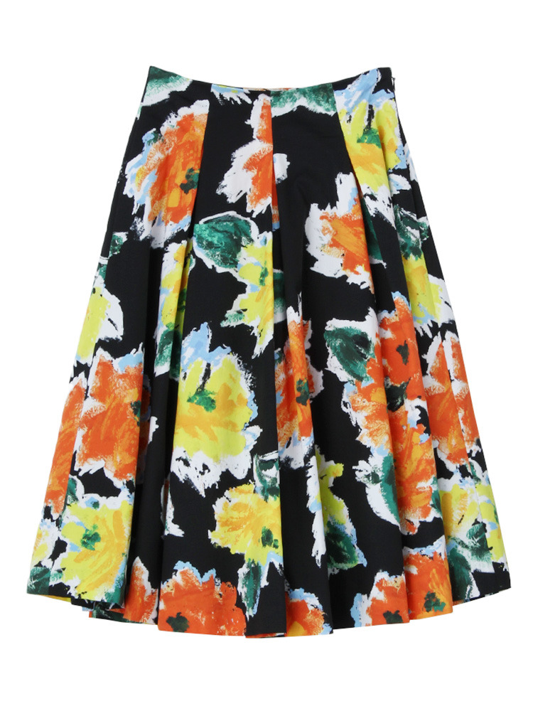 Summer flower ミモレスカート(ブラック-S)