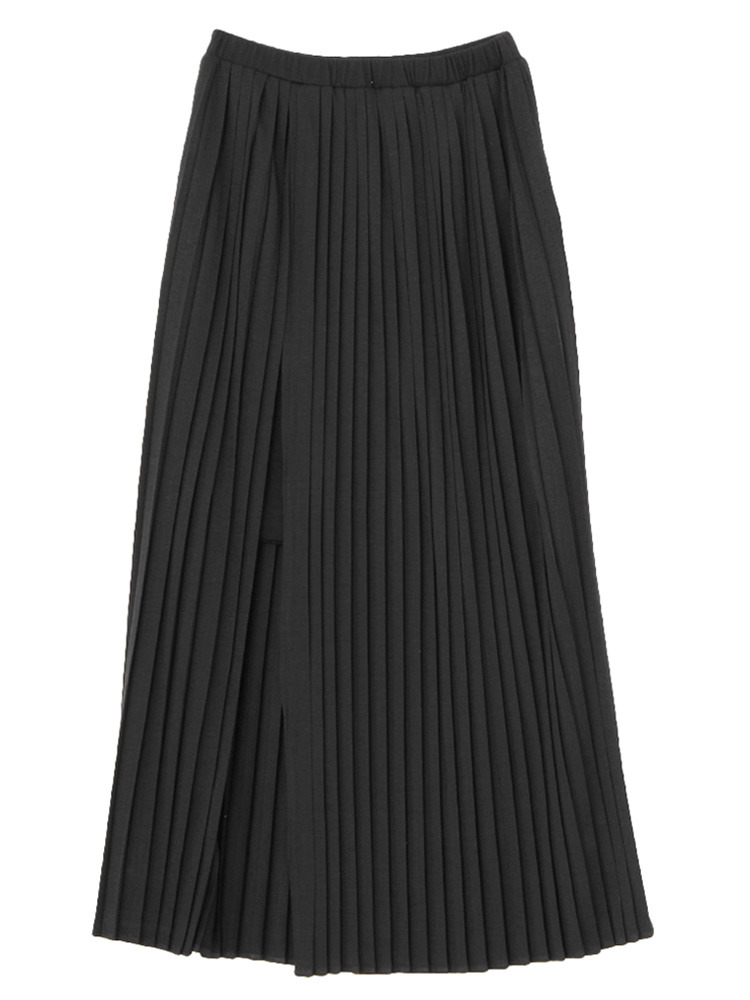 プリーツスリットスカート(ブラック-S)