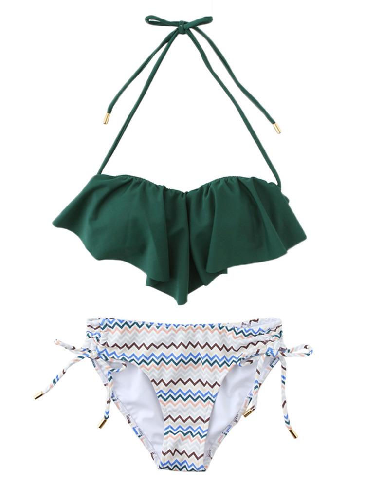 【Swimsuit】ジャグドフリルビキニ(グリーン-F)