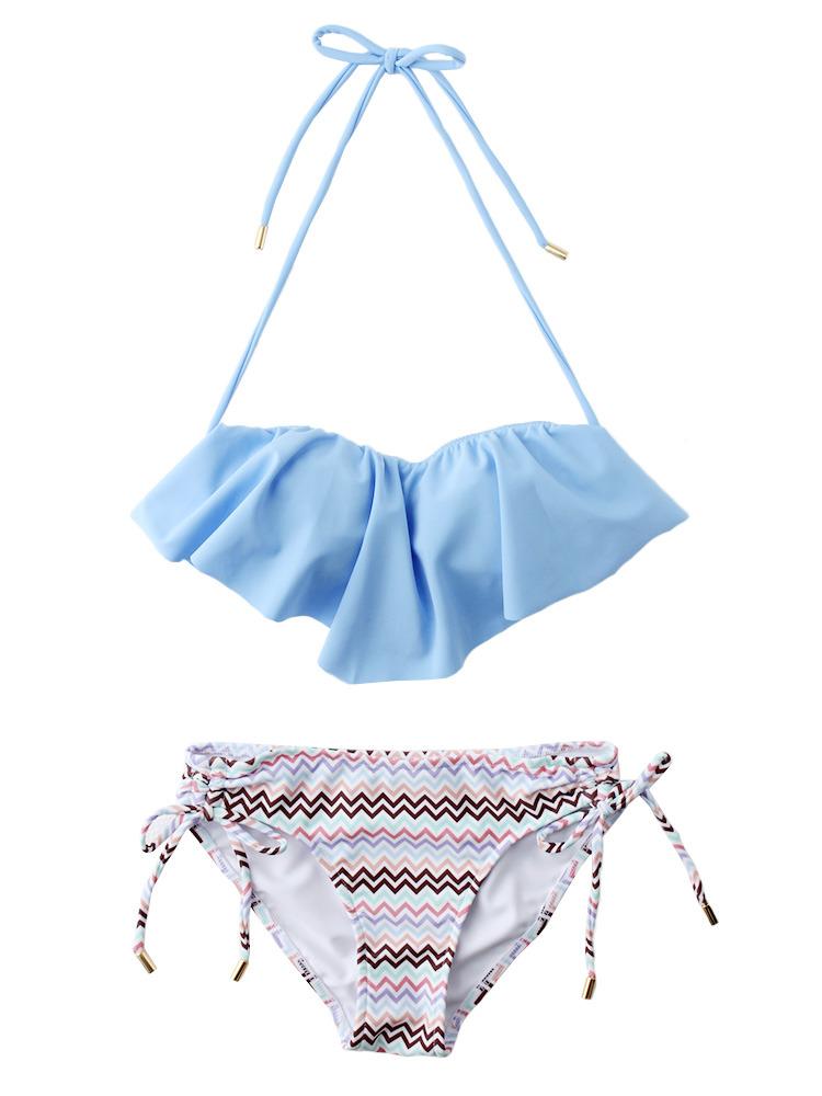 【Swimsuit】ジャグドフリルビキニ(ブルー-F)