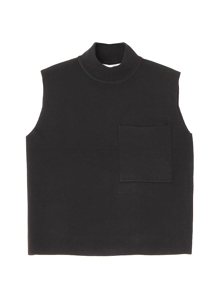 ポケットノースリーブタートルプルオーバー(ブラック-F)