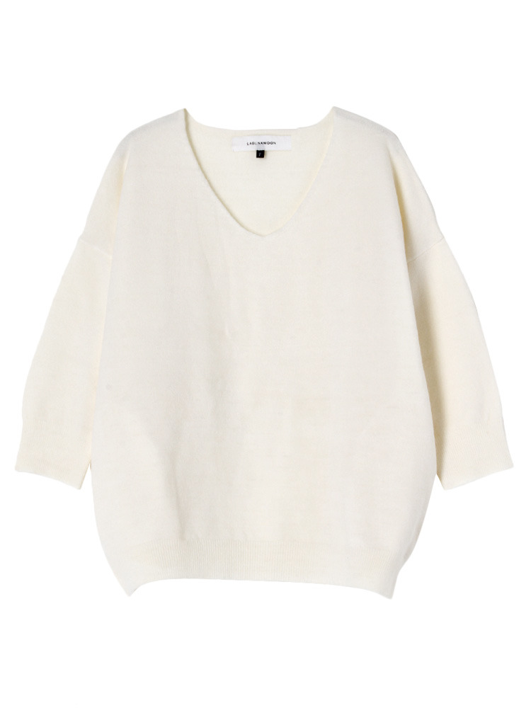 Soft Vネックプルオーバー(ホワイト-F)