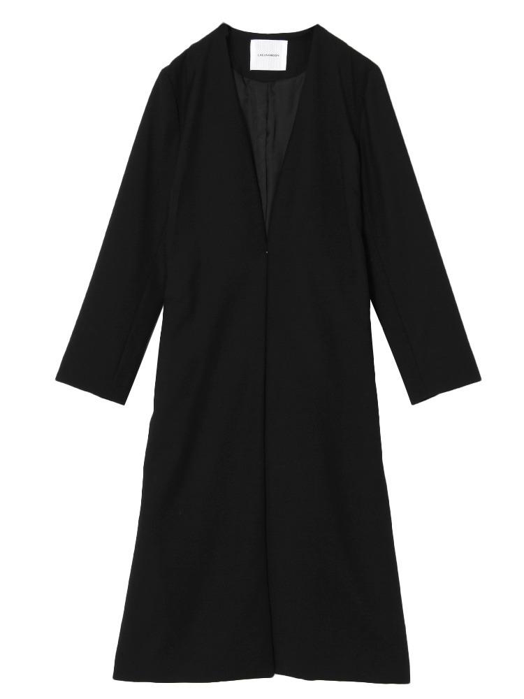 Vネックノーカラーコート(ブラック-S)