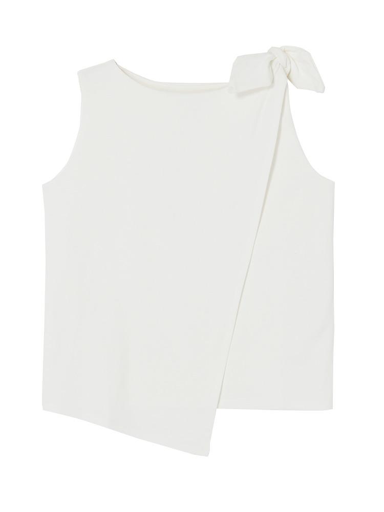 カッティングラップリボントップス(ホワイト-F)