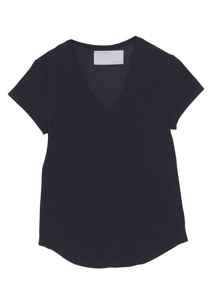 斜行VネックTシャツ【コラボ】(ブラック-S)