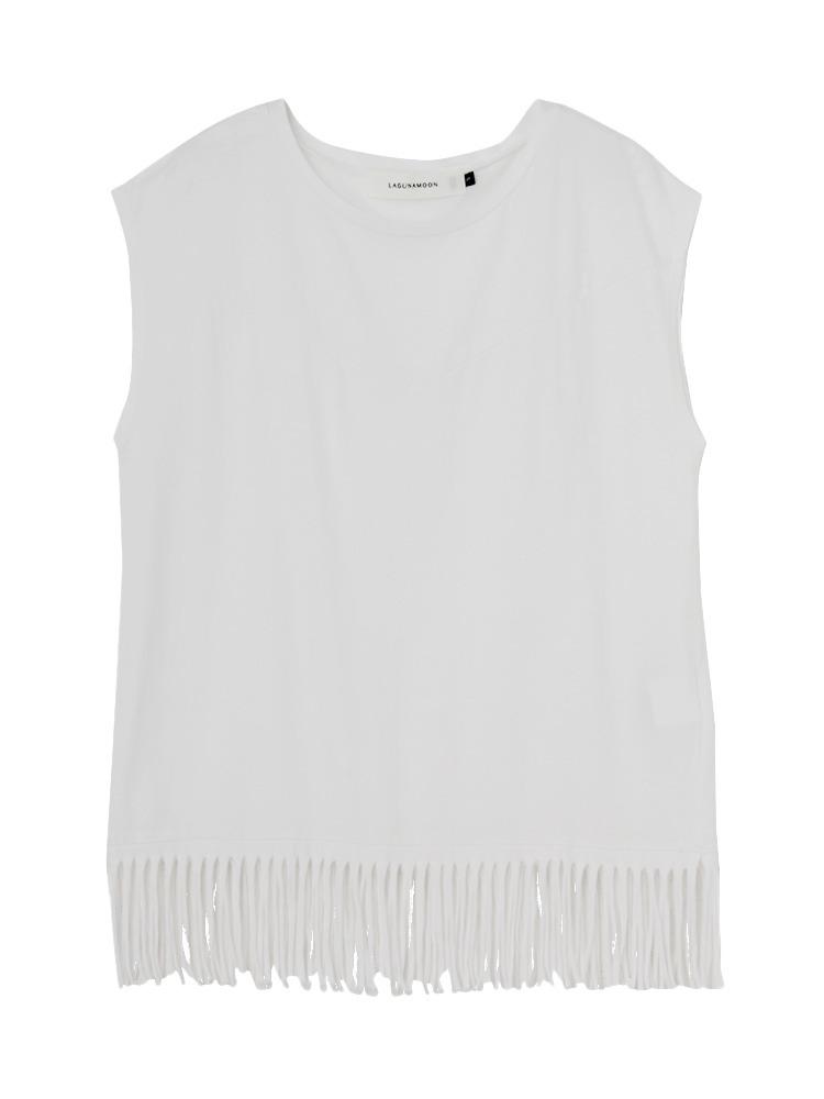 フリンジTシャツ【コラボ】(ホワイト-S)