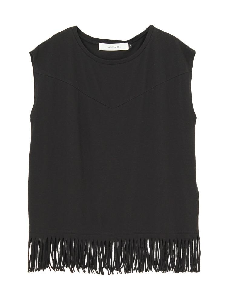 フリンジTシャツ【コラボ】(ブラック-S)
