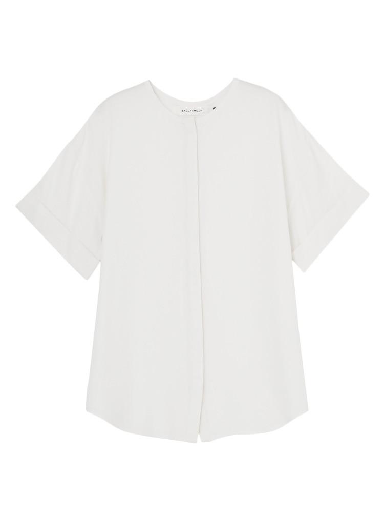 ノーカラーツイルシャツ(ホワイト-F)