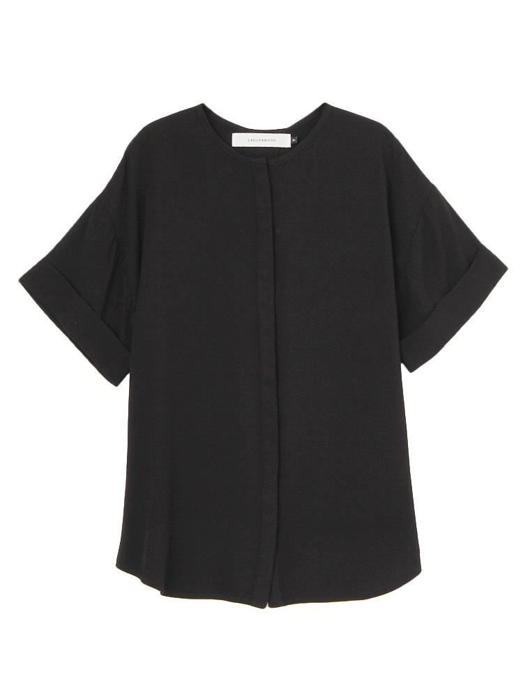 ノーカラーツイルシャツ(ブラック-F)