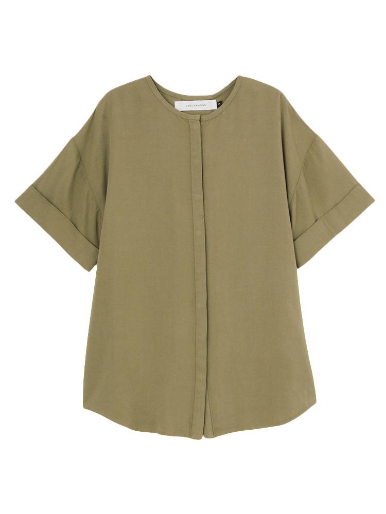 ノーカラーツイルシャツ(カーキ-F)
