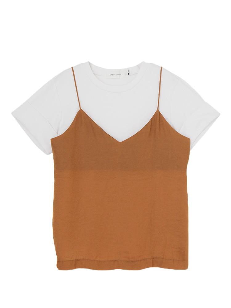 Tシャツ×キャミSET トップス(ホワイト-F)