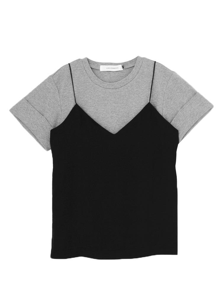 Tシャツ×キャミSET トップス(グレー-F)