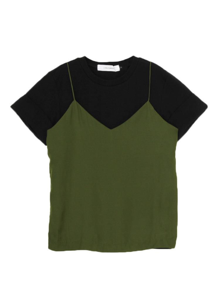 Tシャツ×キャミSET トップス(ブラック-F)