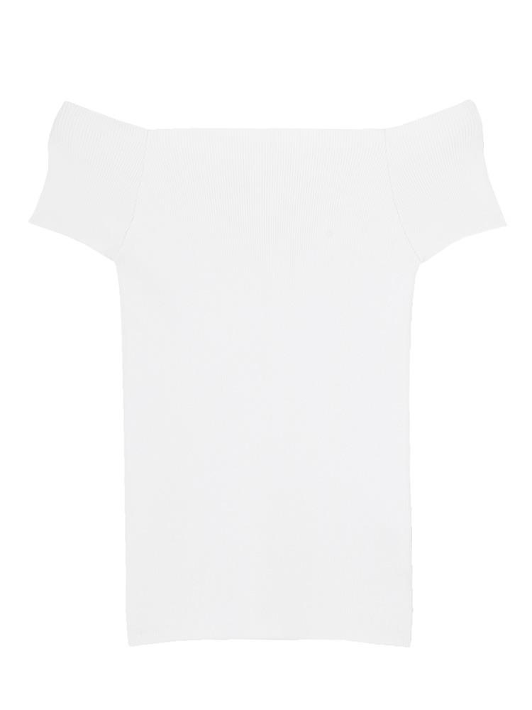 ショートスリーブオフショルニット(ホワイト-F)