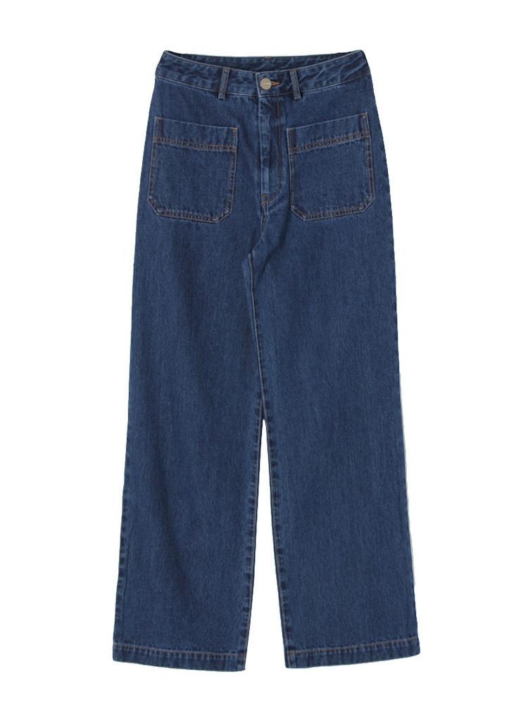 ポケットデニムワイドパンツ(ブルー-S)