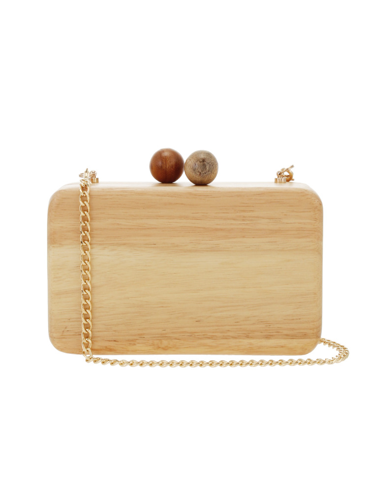 〈Inge Christopher〉Ornella Square Wood Clutch(ベージュ-F)