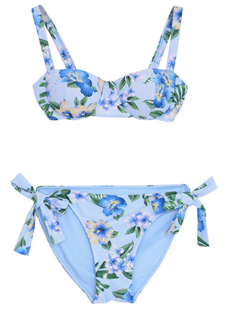 botanical sun flower swin wear(アイスブルー-F)