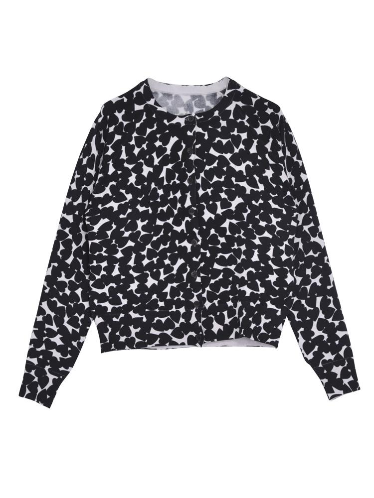 HEART SPOT knit カーデ(ブラック-F)