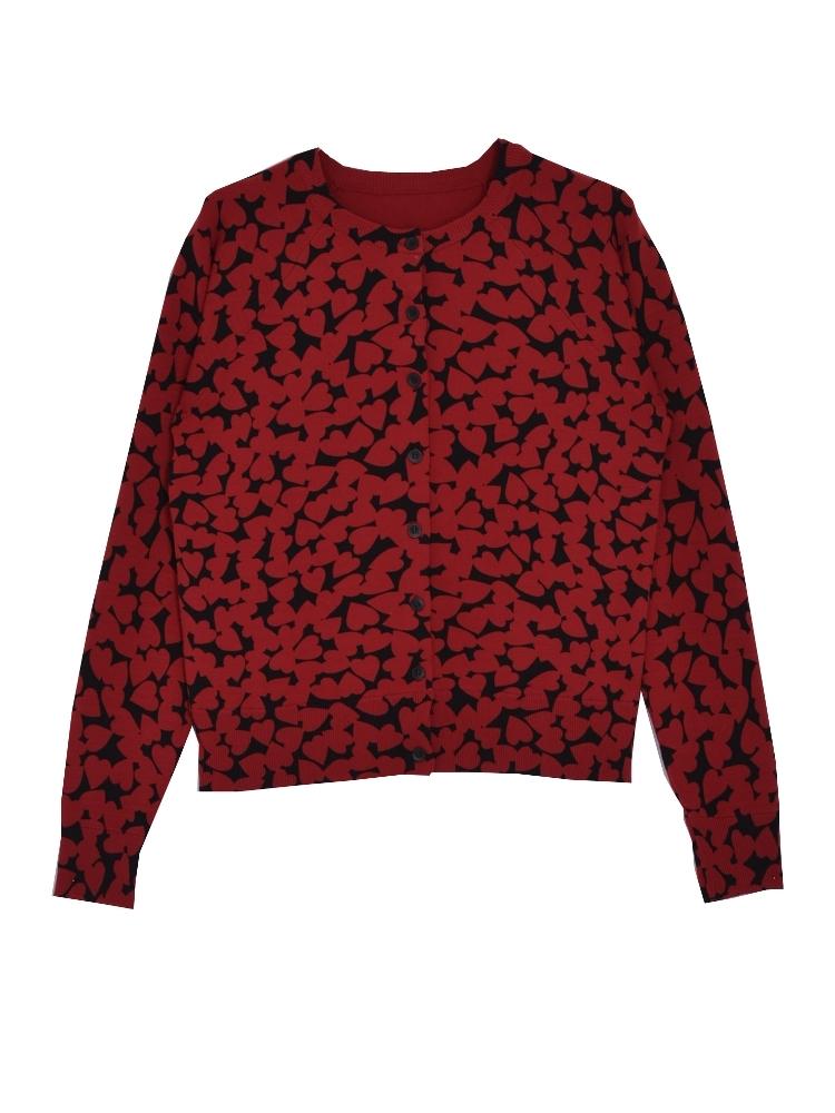 HEART SPOT knit カーデ(レッド-F)