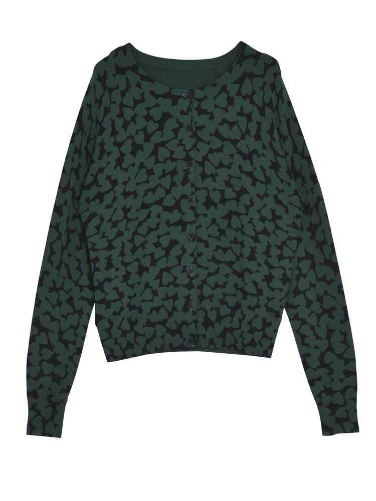 HEART SPOT knit カーデ(グリーン-F)