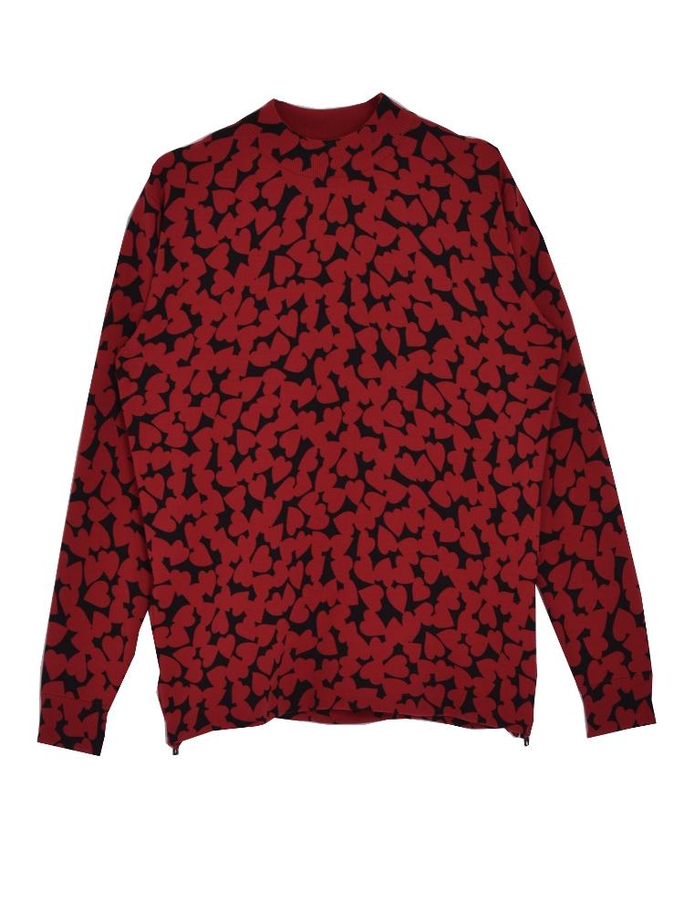 HEART SPOT knit TOP(レッド-F)
