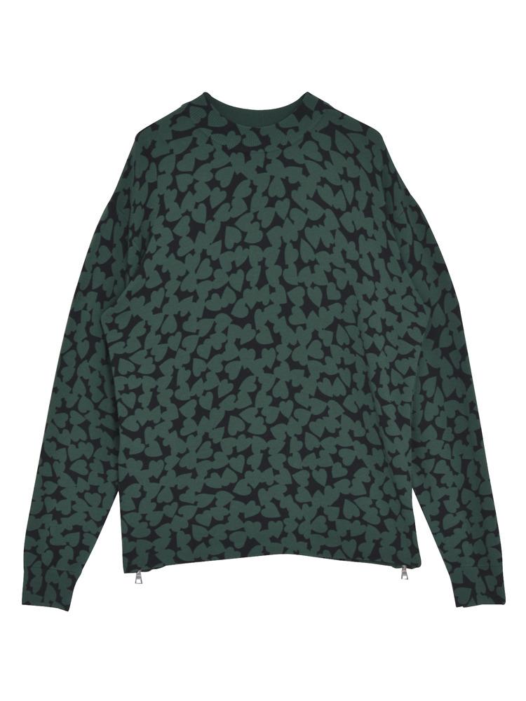 HEART SPOT knit TOP(グリーン-F)