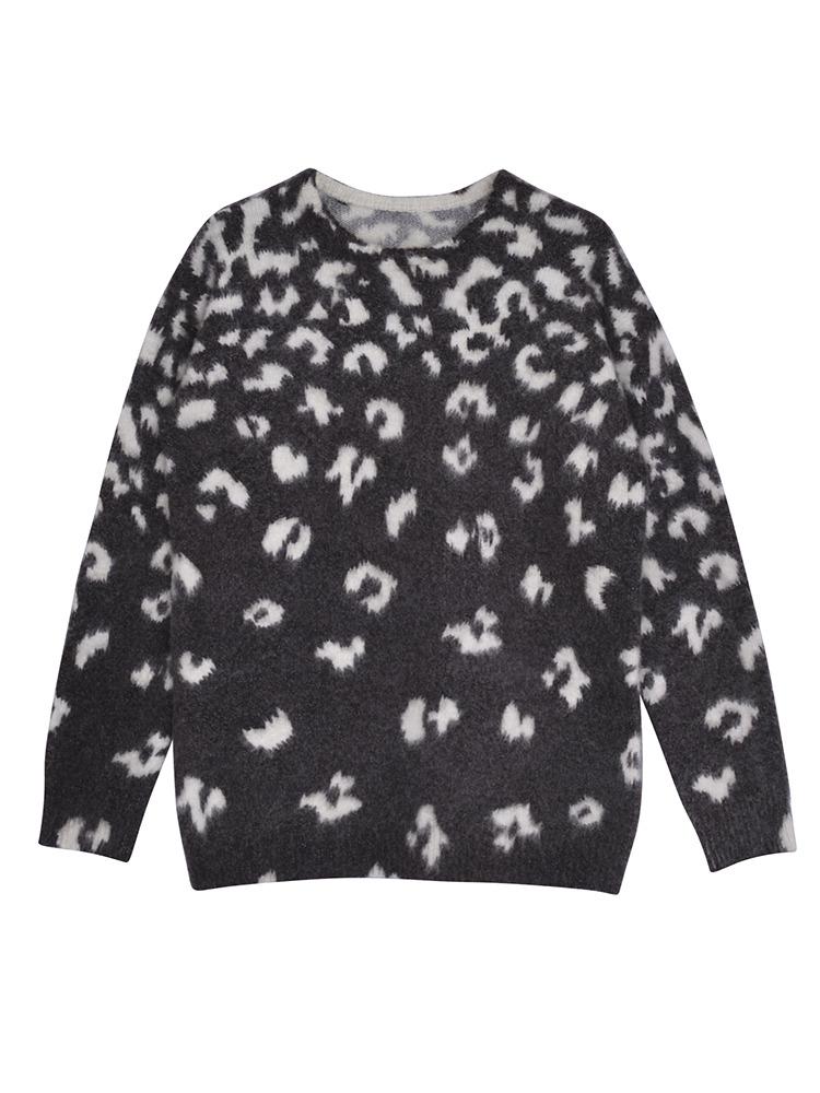 Multi LEO FUR knit TOP(ブラック-F)