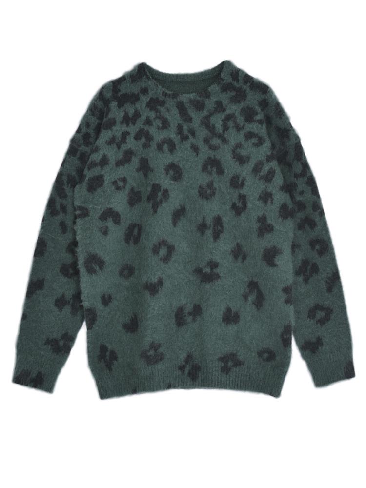 Multi LEO FUR knit TOP(グリーン-F)