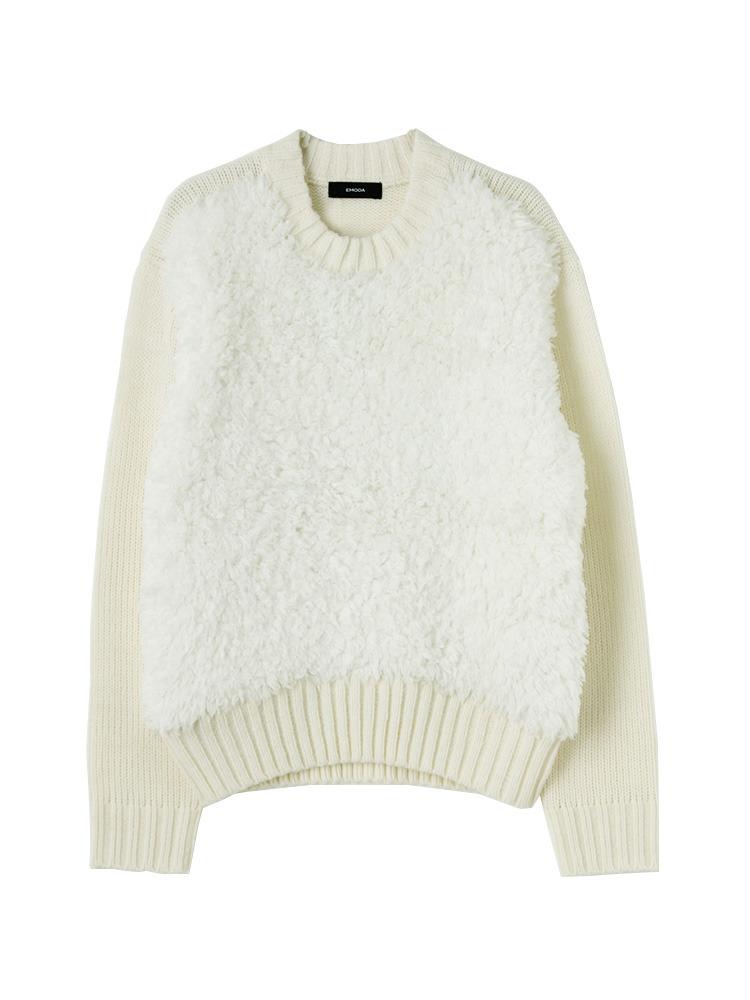 ボリュームMIX knit TOP(ホワイト-F)