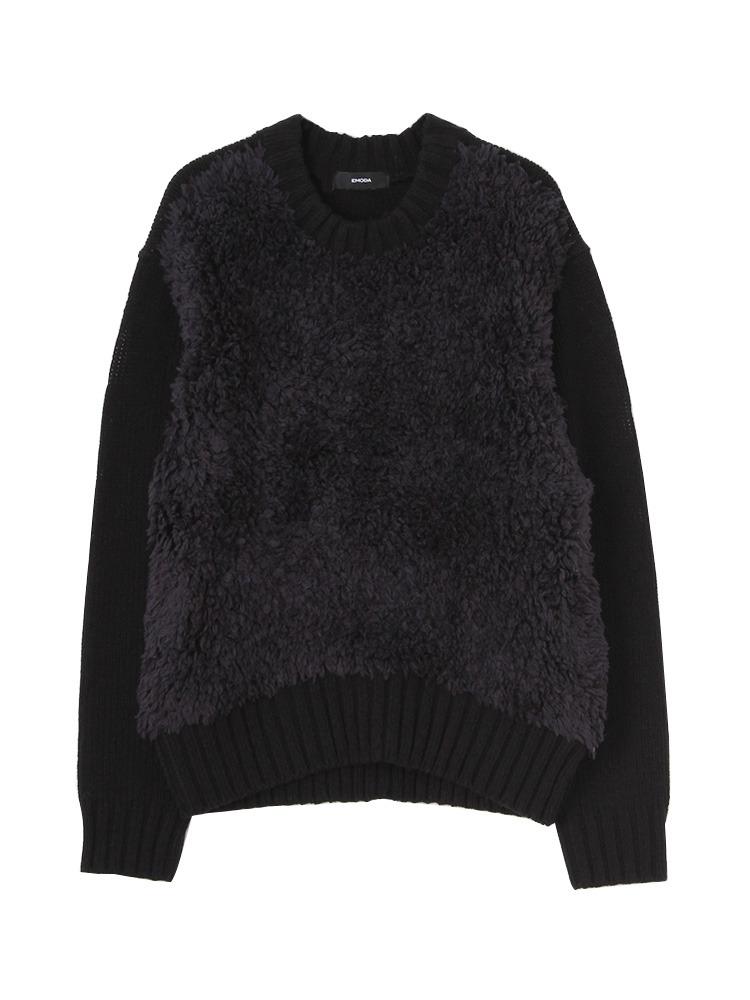 ボリュームMIX knit TOP(ブラック-F)