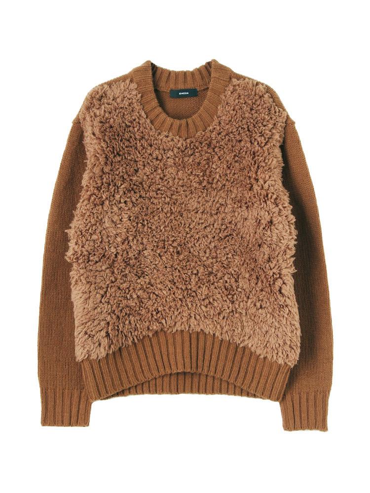 ボリュームMIX knit TOP(ブラウン-F)