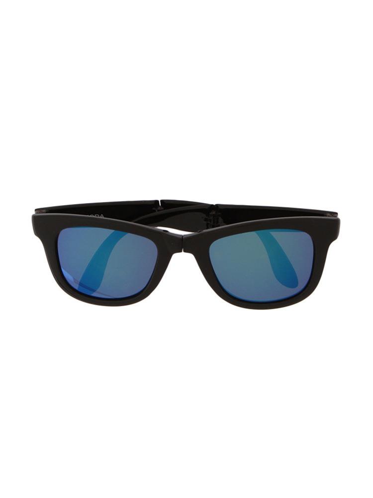 ミラーレンズコンパクトサングラス(ブルー-F)