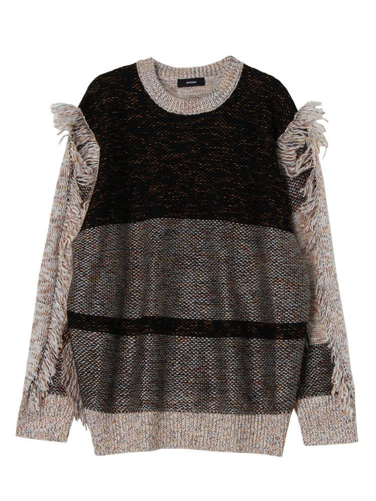 MIX FRINGE knit(ブラック-F)