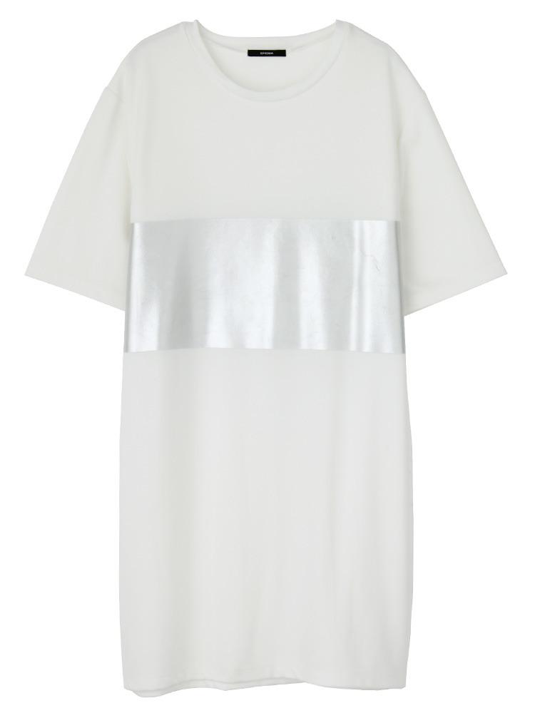 オーバーグロスTシャツワンピース(ホワイト-F)