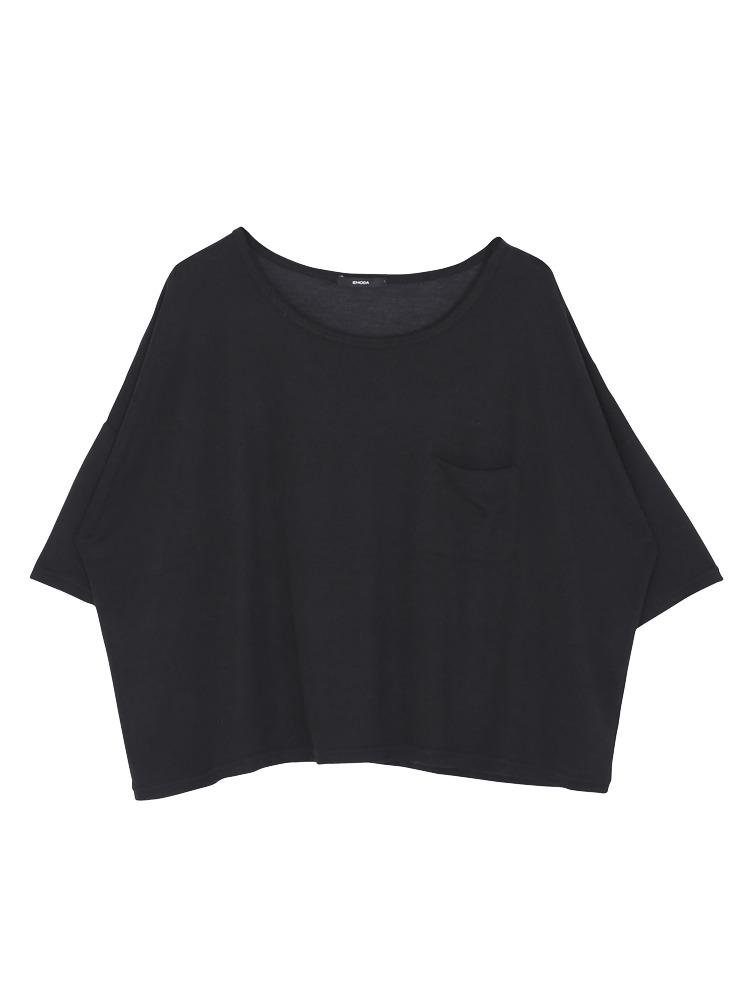 ワッフルルーズTシャツ(ブラック-F)