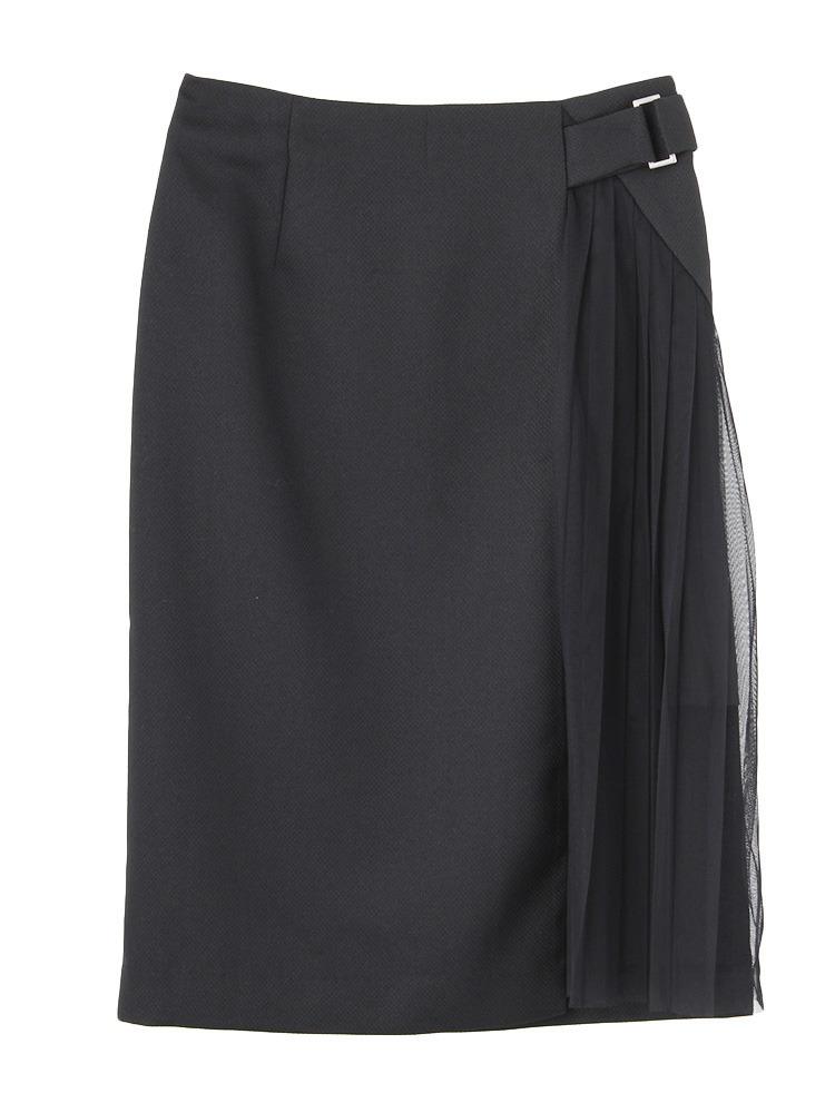 W cloth スカート(ブラック-S)