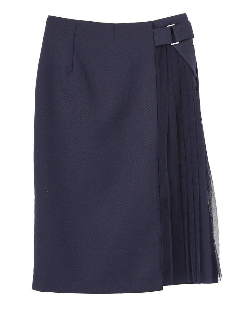 W cloth スカート(ネイビー-S)